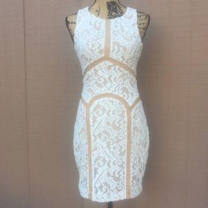 Sz S Ark & Co White Beige Sleeveless Dress EUC
